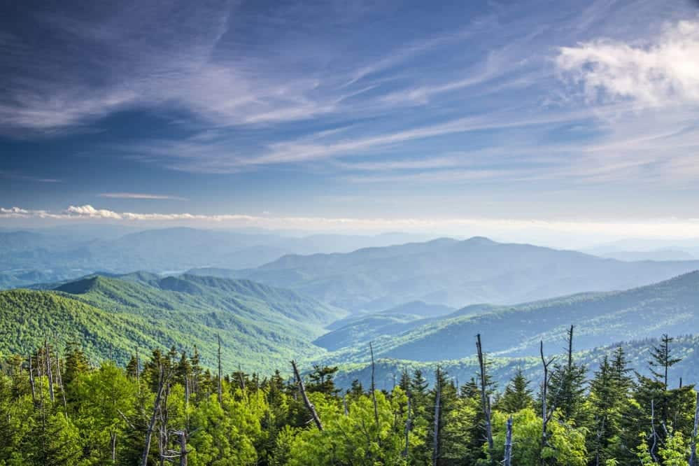 view of the Smoky Mountains from Clingmans Dome